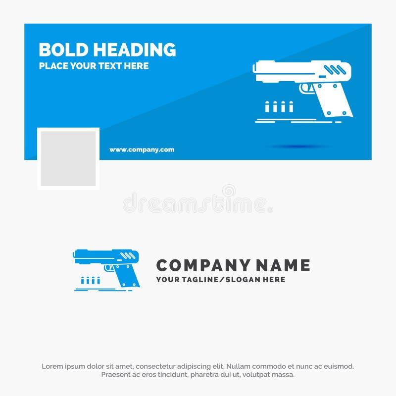 Blauwe Zaken Logo Template voor kanon, pistool, pistool, schutter, wapen Facebook-het Ontwerp van de Chronologiebanner De vector  royalty-vrije illustratie