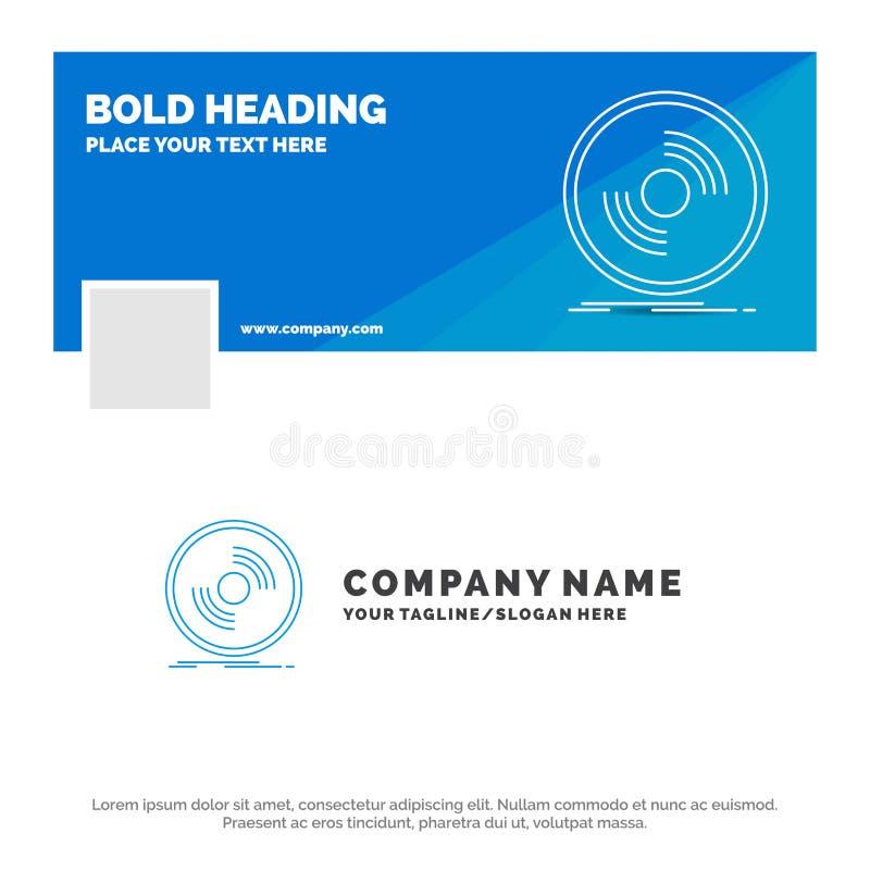 Blauwe Zaken Logo Template voor Schijf, DJ, fonograaf, verslag, vinyl Facebook-het Ontwerp van de Chronologiebanner de vectoracht royalty-vrije illustratie