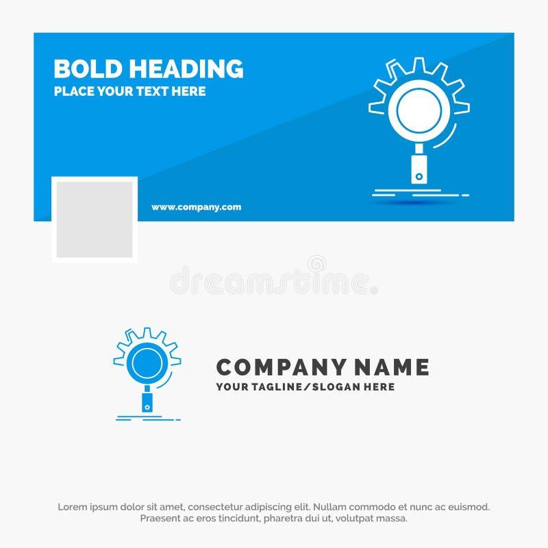 Blauwe Zaken Logo Template voor seo, onderzoek, optimalisering, proces, het plaatsen Facebook-het Ontwerp van de Chronologiebanne stock illustratie
