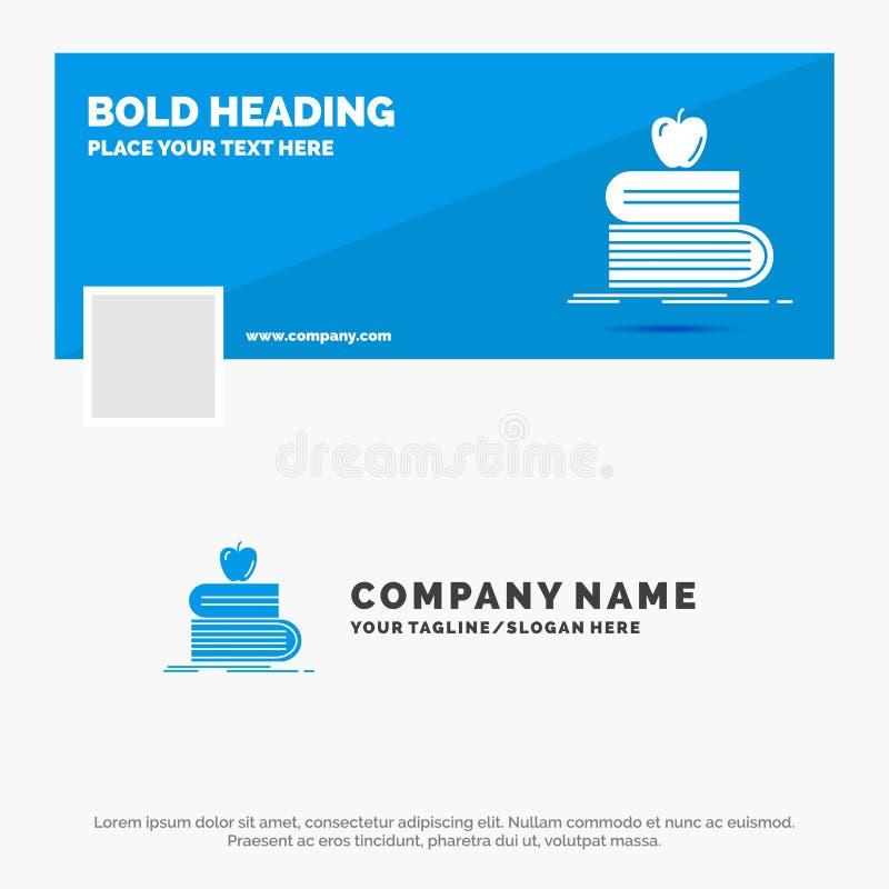 Blauwe Zaken Logo Template voor terug naar school, school, student, boeken, appel Facebook-het Ontwerp van de Chronologiebanner D vector illustratie