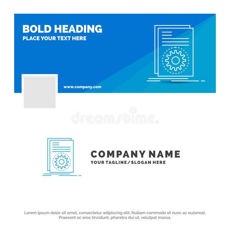 Blauwe Zaken Logo Template voor uitvoerbare Code, dossier, het lopen, manuscript Facebook-het Ontwerp van de Chronologiebanner De stock illustratie