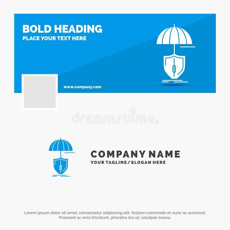 Blauwe Zaken Logo Template voor verzekering, bescherming, digitale veiligheid, schild Facebook-het Ontwerp van de Chronologiebann vector illustratie