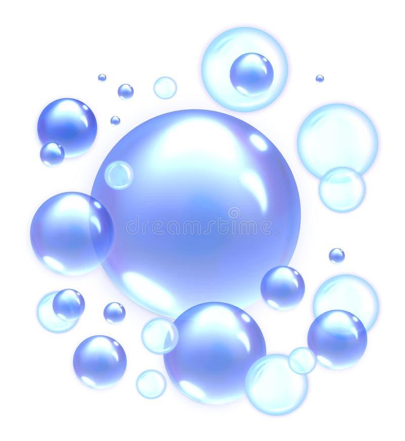 Blauwe Zeepbels royalty-vrije illustratie