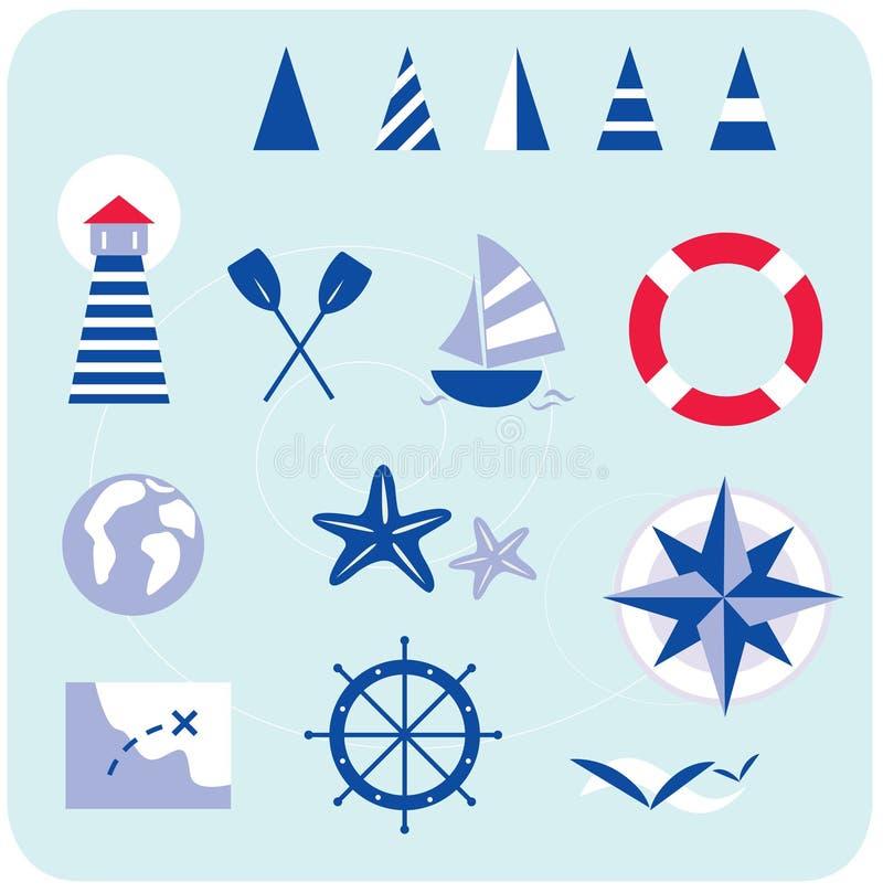 Blauwe zeevaart en zeemanspictogrammen royalty-vrije illustratie