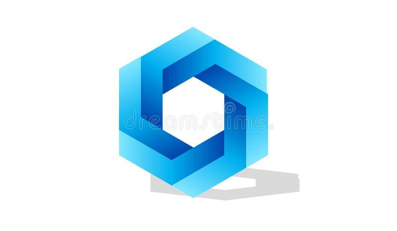 Blauwe zeshoek op witte achtergrond stock illustratie
