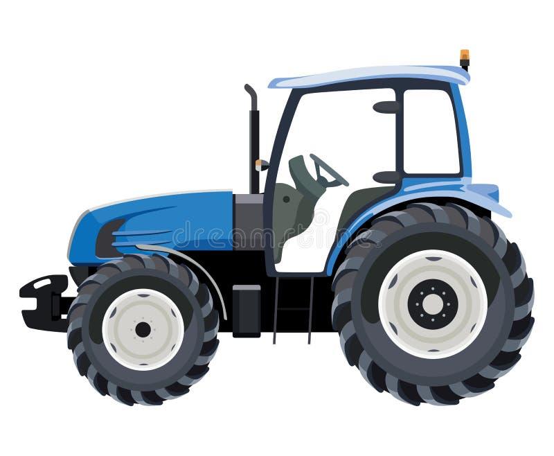 Blauwe zijtractor stock illustratie