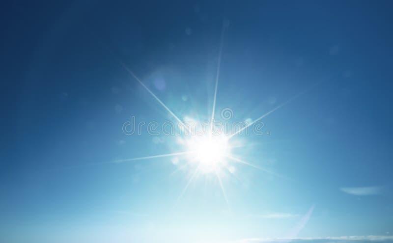Blauwe zon en hemel stock foto