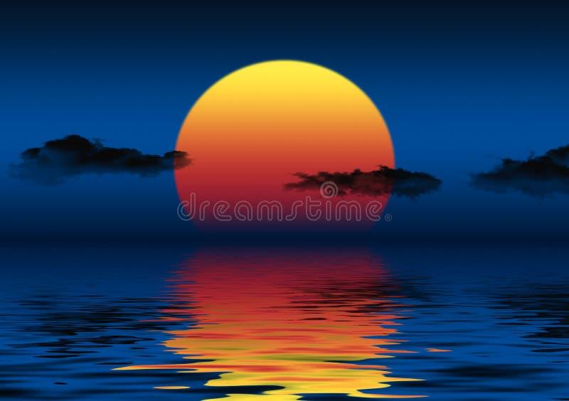 Blauwe Zonsondergang vector illustratie