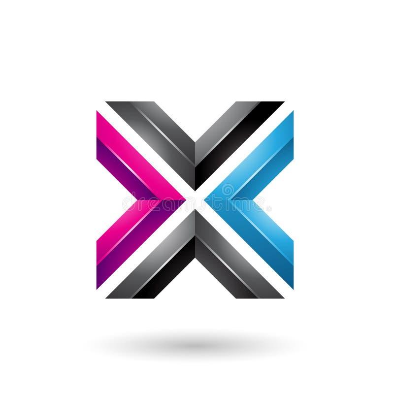 Blauwe Zwarte en Magenta Vierkante Gevormde Brief X Vectorillustratie royalty-vrije illustratie