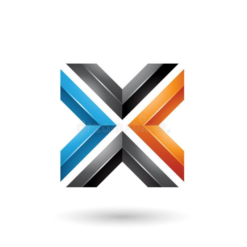 Blauwe Zwarte en Oranje Vierkante Gevormde Brief X Vectorillustratie stock illustratie