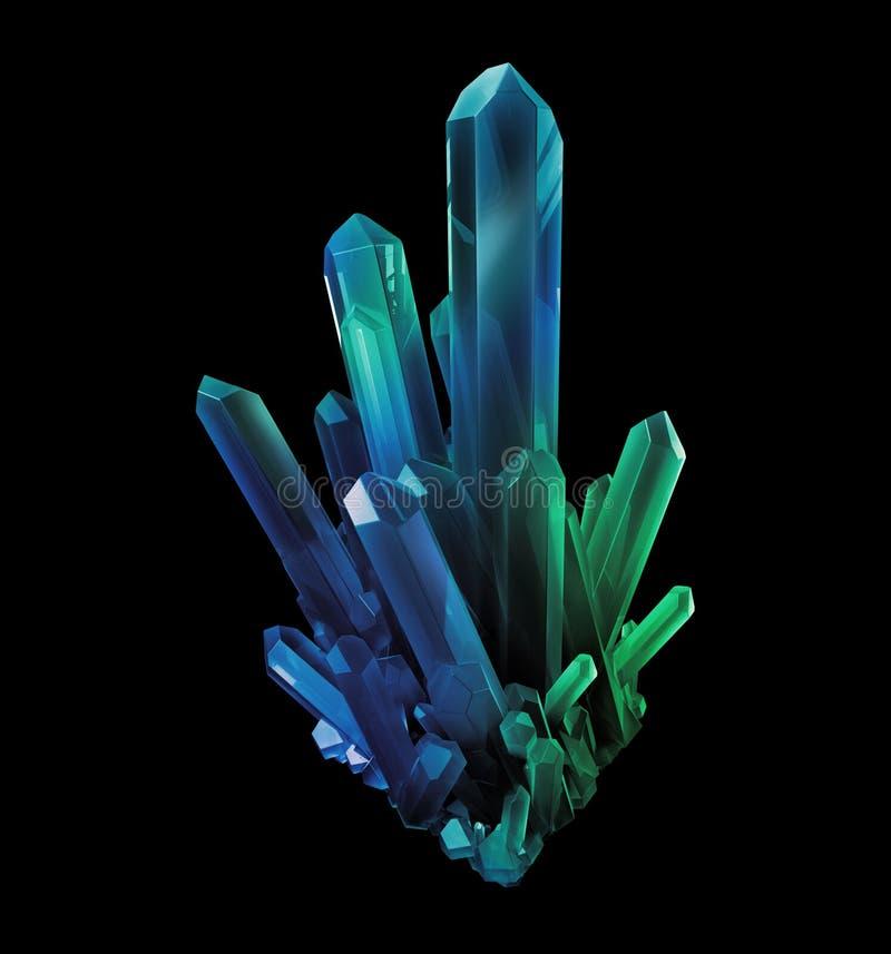 Blauwgroene kristallen, geologische vormen, 3d voorwerp