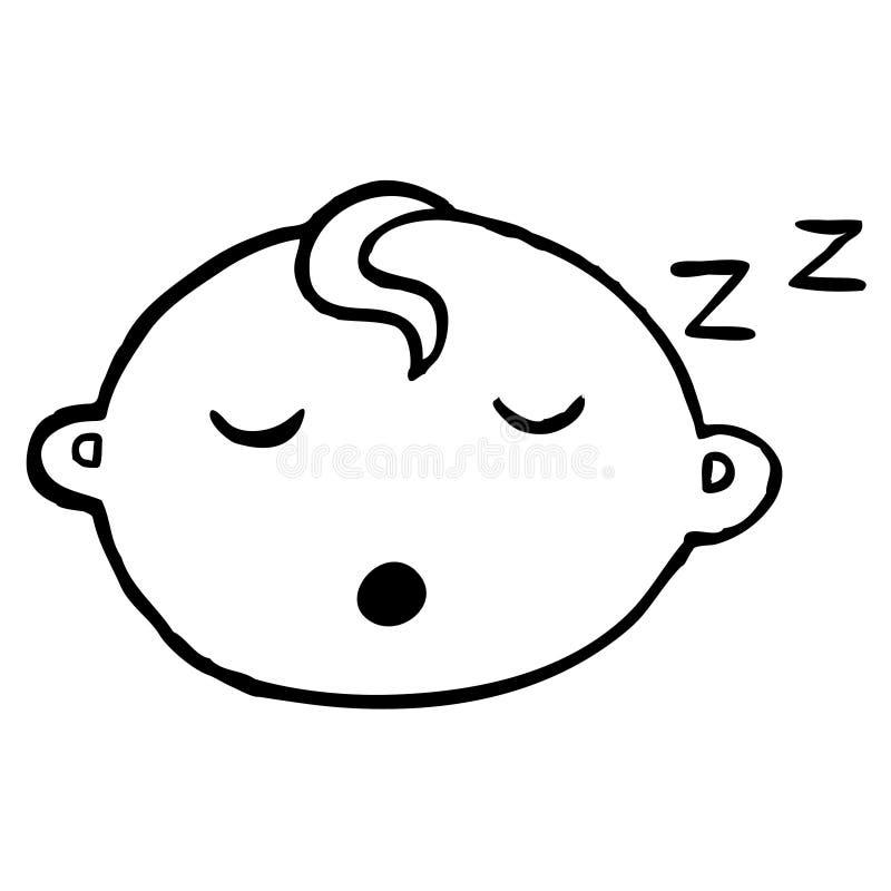Blavk und weißes schlafendes Baby mit weißem backround stockfoto