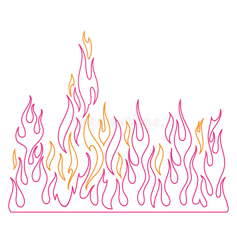 Blaze, burning fire and flames vector illustration. Blaze, burning fire and flames illustration for hell, volcano background royalty free illustration