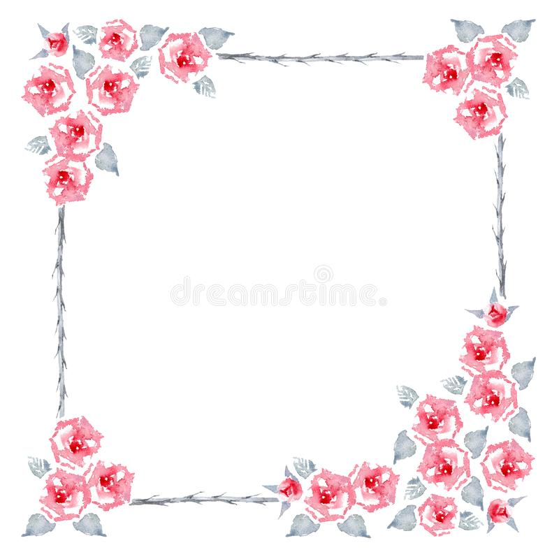 Blaze Improved Climbing Rose. Isolated set of pure red English garden roses  flowers, leaves and buds. Frame for greeting card. vector illustration