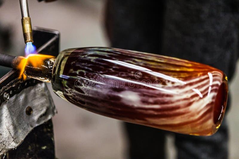 Blazende Glasclose-up van de Vlam van het Propaangas stock afbeeldingen
