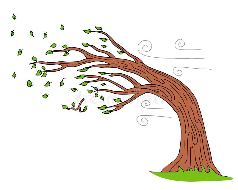 Blazende Wind Windy Day Bending Tree royalty-vrije illustratie