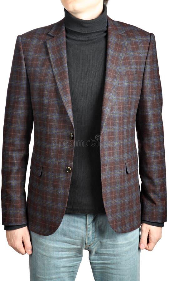Blazer de laine du costume des hommes à carreaux, en combination avec des jeans photos libres de droits