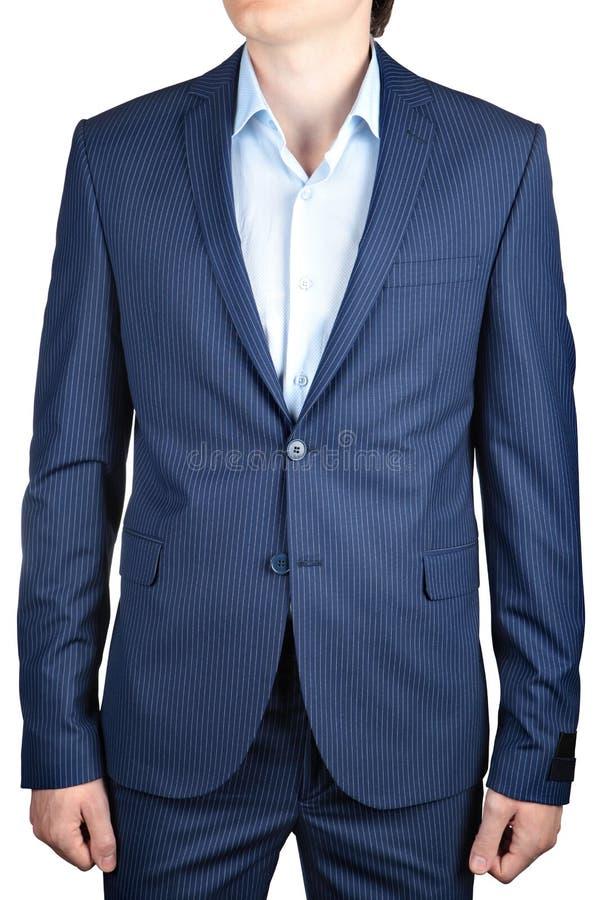 Blazer Pinstriped azul, ocasional ou do baile de finalistas para homens, no branco imagem de stock