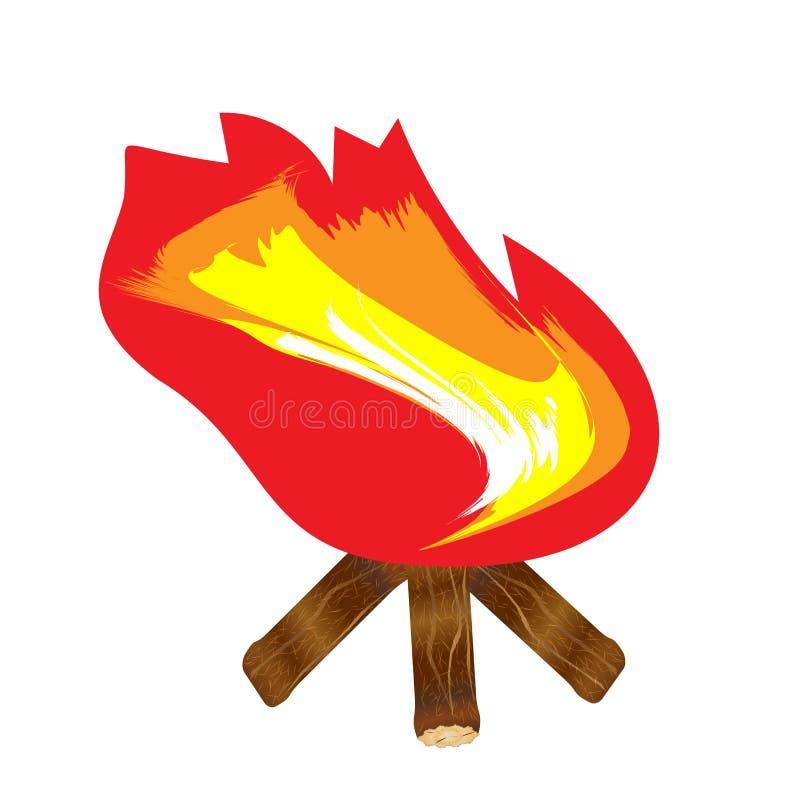 Blazing bonfire on wood διανυσματική απεικόνιση