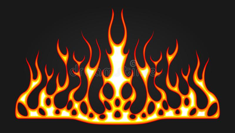 Blazing fire decals for the hood of the car. Hot Rod Racing Flames. Vinyl ready tribal flames. Vehicle and motorbike stickers, wit vector illustration