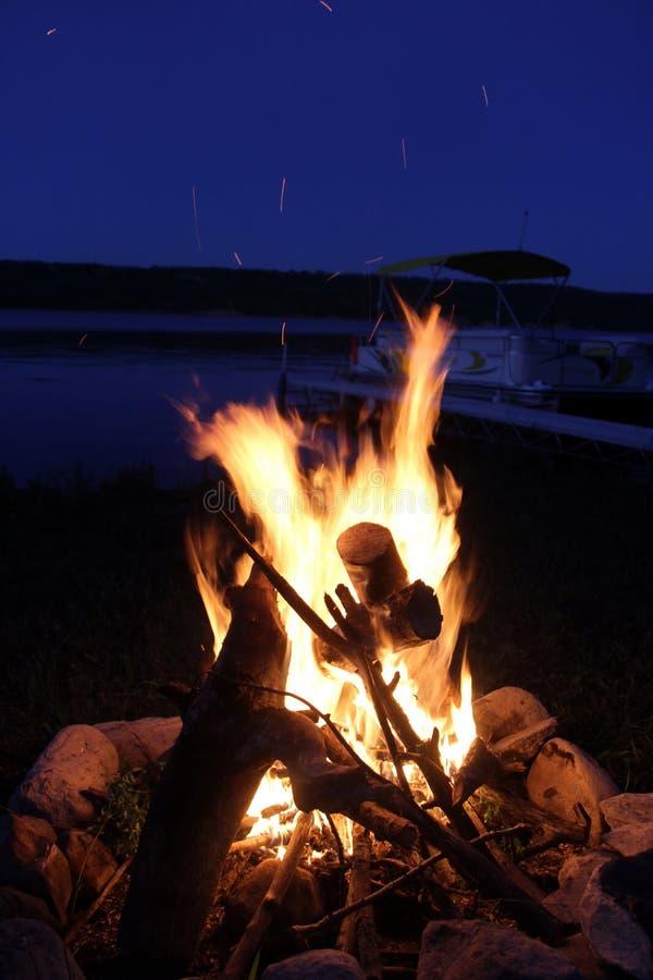 Bonfire by Lake of The Prairies, Manitoba royalty free stock images
