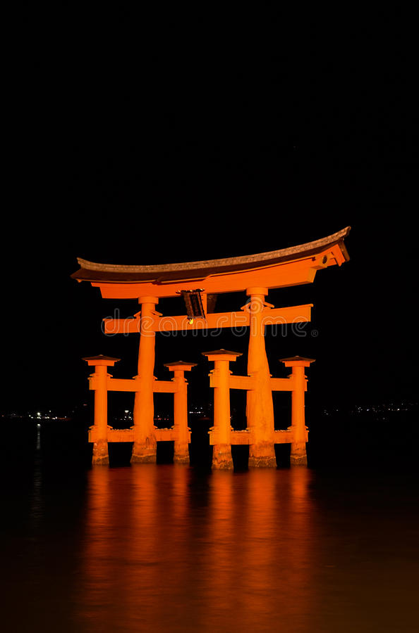 Download Blazing Miyajima Torii At Night Stock Photo - Image: 11484812