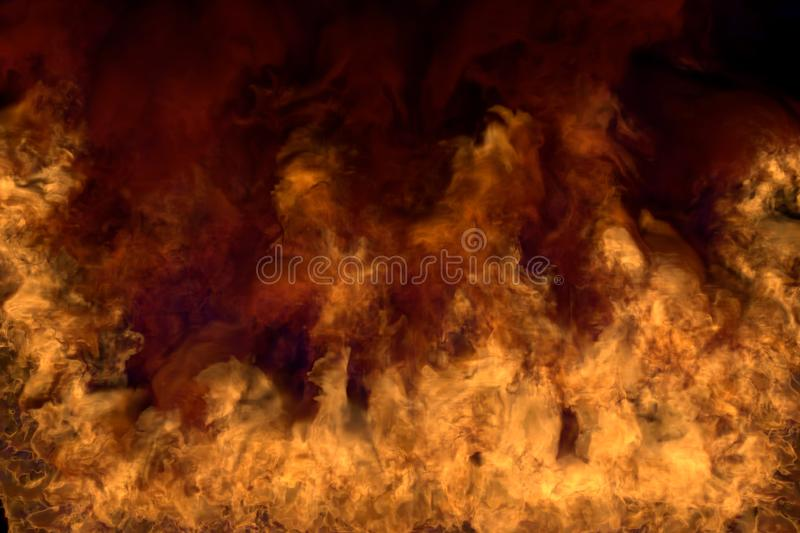 Blazing mysterious explosion on black background, half frame with heavy smoke - fire from the left and right corners and bottom -. Flames from both the corners stock images