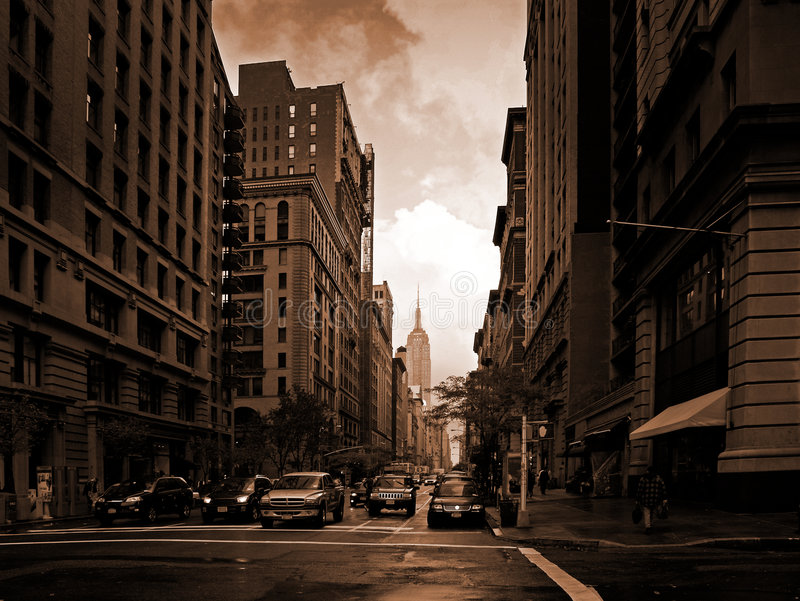 Blazing New-York. Fifth avenue in a blazing sunset royalty free stock photo