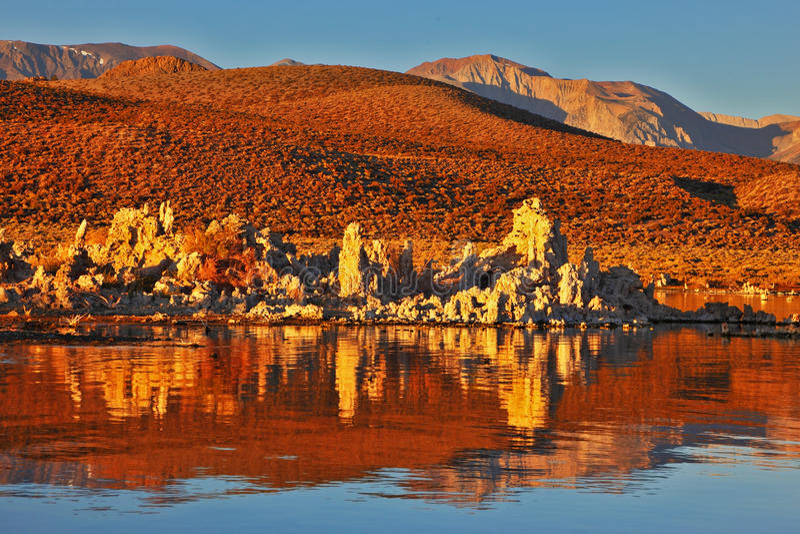 Blazing orange sunset at Mono Lake royalty free stock image