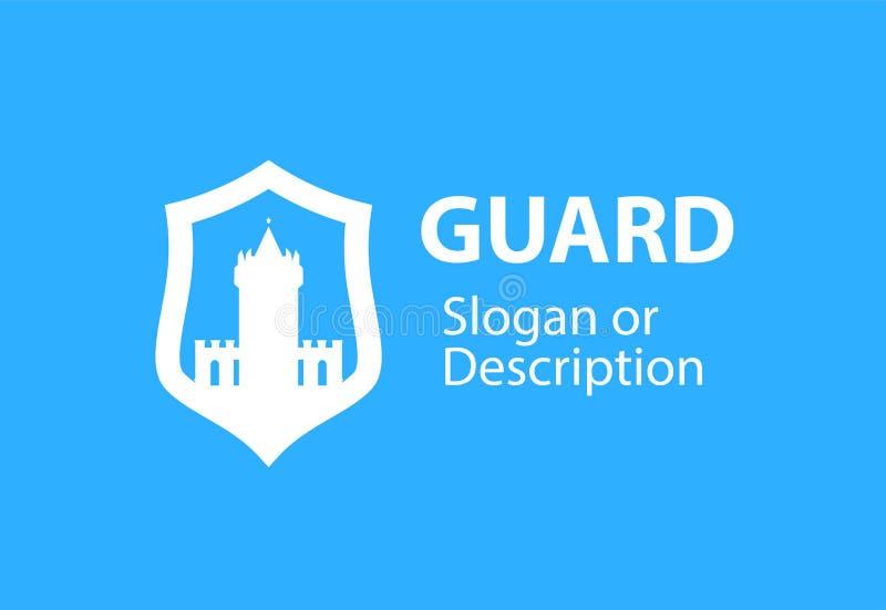 Blazon emblemat z osłony i fortecy kasztelem - Wektorowy logotypu emblemat dla biznesowego mieszkanie stylu ilustracji