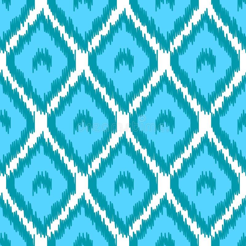 Blbe i białej prostej geometrycznej ikat azjatykciej tradycyjnej tkaniny bezszwowy wzór, wektor royalty ilustracja