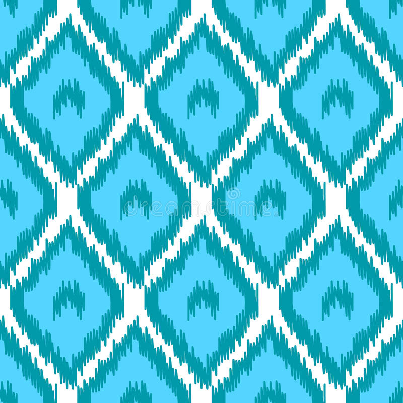 Blbe y modelo inconsútil de la tela tradicional asiática geométrica simple blanca del ikat, vector libre illustration