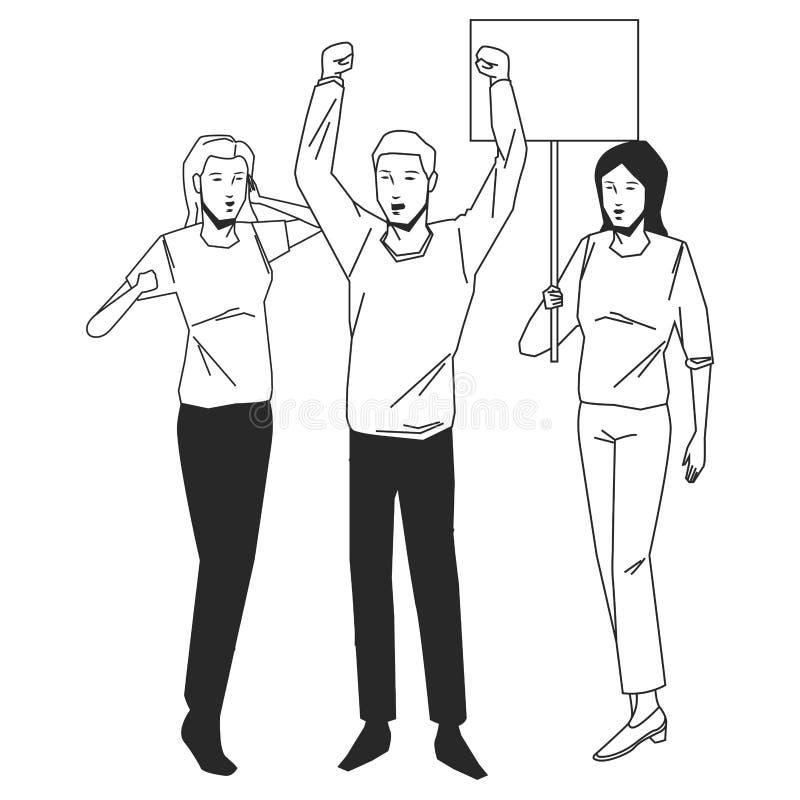 Blck público do protesto do ctivity de Socil branco ilustração do vetor