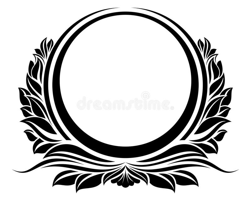Black Vintage Circle Frame With Ribbon For Design
