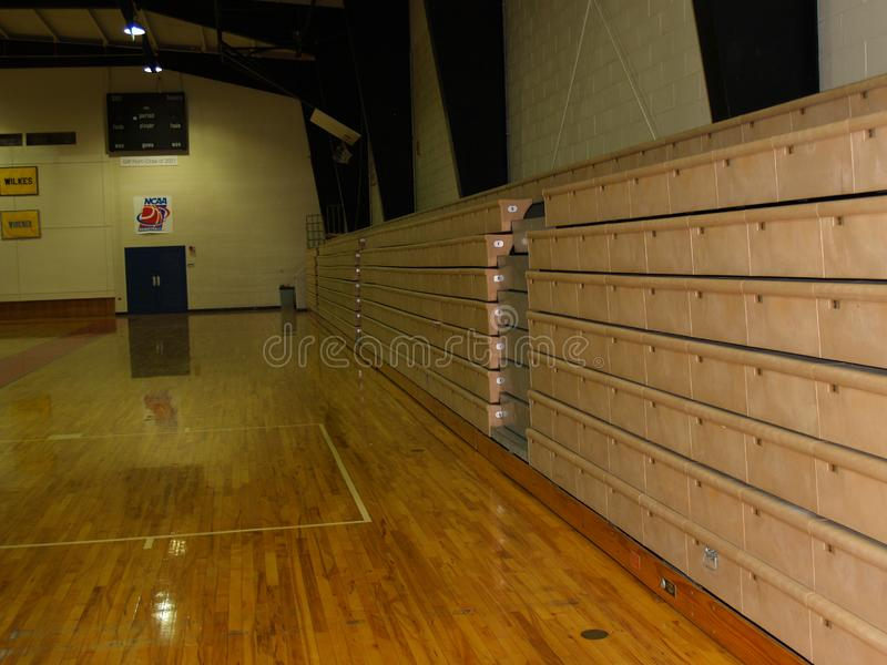 Bleachers in indoor gym royalty free stock images