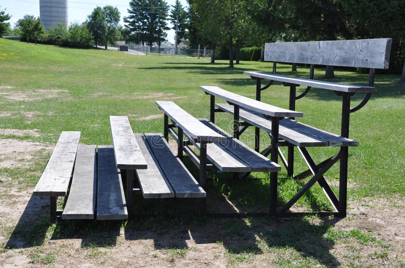 Bleachers. Side view of bleachers in a sunny day royalty free stock photography