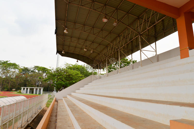 Bleachers. Staircase of Stadium in the park stock photography