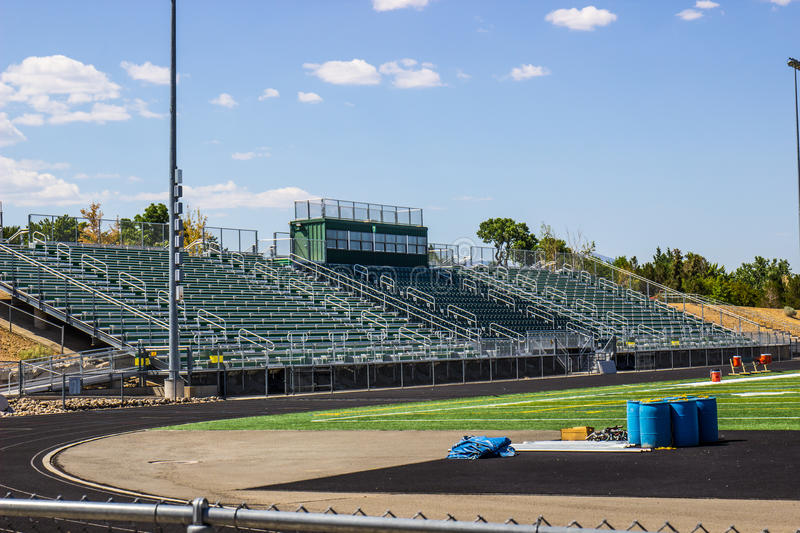 Bleachers By Track & Field. Bleachers With Press Box By Track & Field stock photography
