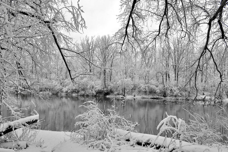 Bleak winter. Snow covered landscape sometimes creates bleakness in Ohio. This photo is of the Little Miami River near Morrow, Ohio royalty free stock photos