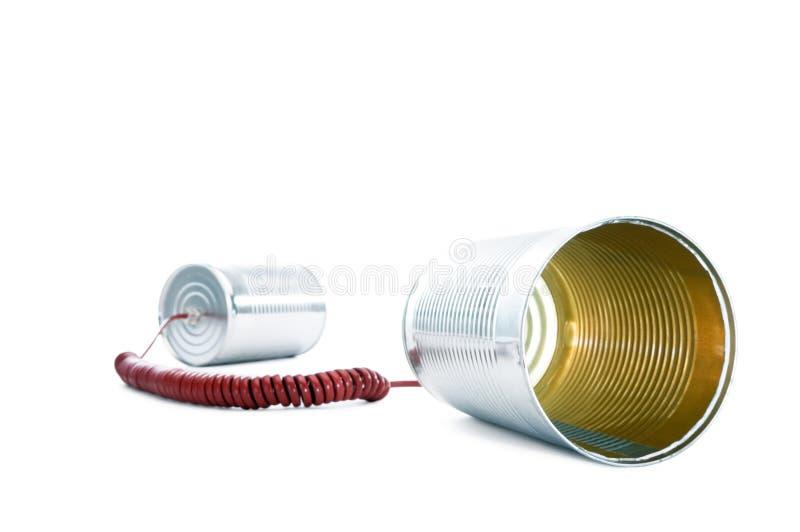 Blechdose-Telefon stockfoto