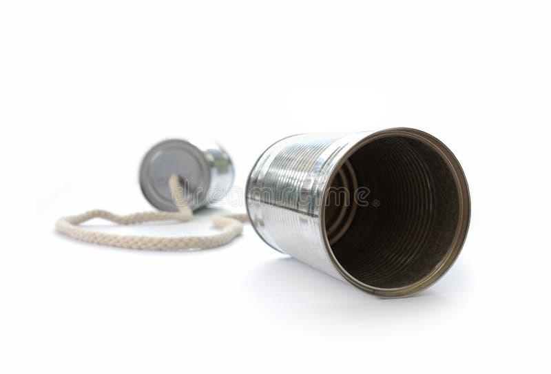 Blechdosetelefon lizenzfreie stockbilder
