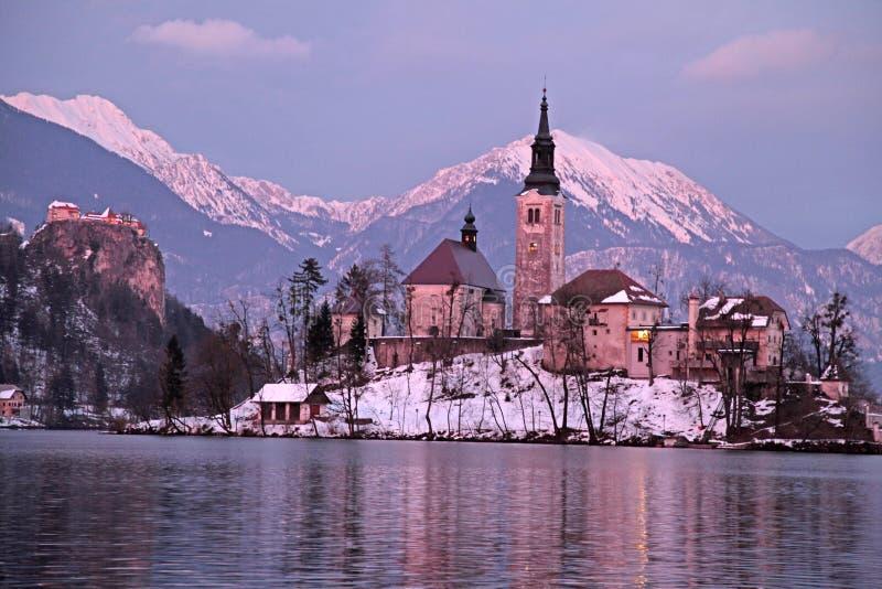 Bled湖和海岛教会冬天风景日落的 免版税图库摄影