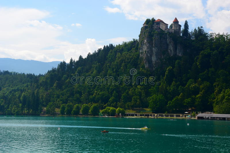 Bled castle and lake. Upper Carniola, Slovenia. Bled is an Alpine town alongside glacial Lake Bled in northwestern Slovenia. It is most notable as a popular royalty free stock photography