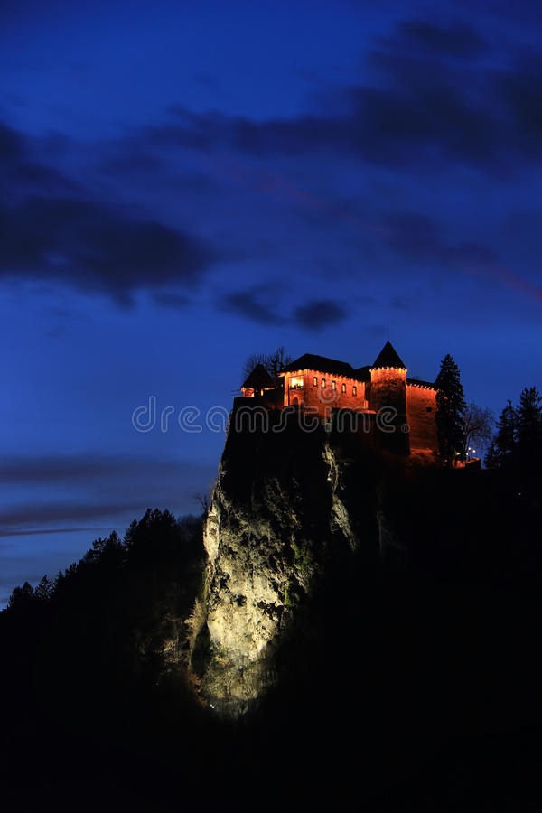 Bled Castle during the Night stock photos