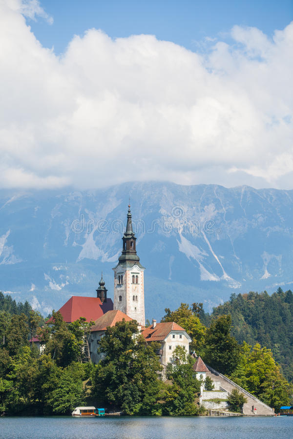 Bled church in Slovenia. View of the Bled church in Slovenia stock photography