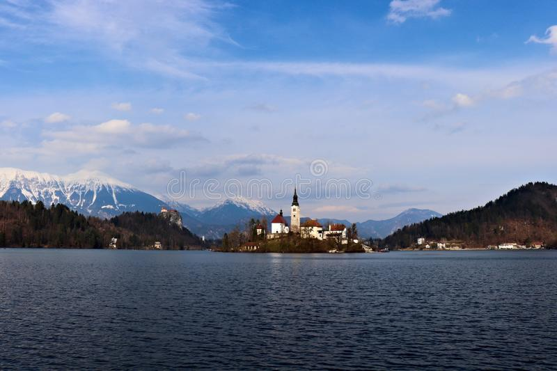 Bled island and castle. Ground angle royalty free stock image