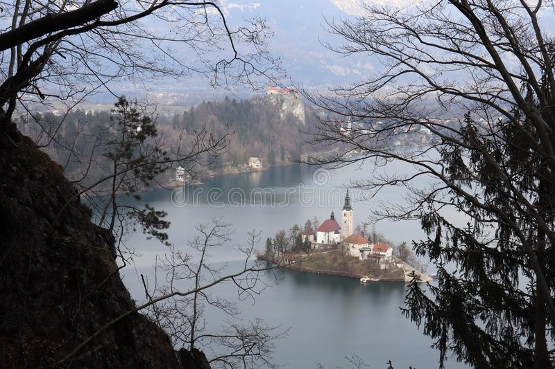 Bled island and castle. Seen through royalty free stock photos