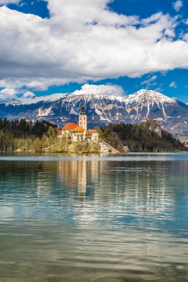 Bled Lake,Island,Church,Castle,Mountain-Slovenia royalty free stock photography