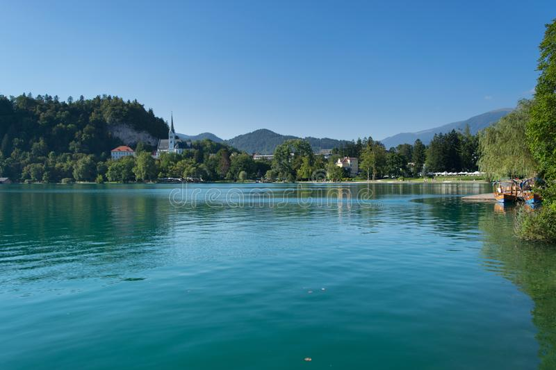 Bled with lake, island and mountains in background, Slovenia stock photography