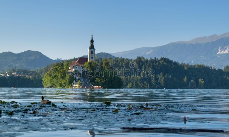 Bled with lake, island and mountains in background, Slovenia stock photos